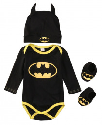 Newborn Baby Boy Girl Yellow+ Black Clothes Batman Long Short Sleeve Rompers+Shoes+Hat Costumes 3Pcs Outfits Set