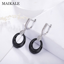 MAIKALE Simple Fashion Round Drop Earrings Copper AAA Cubic Zirconia Black White Ceramic Gold Silver Color Earrings For Women