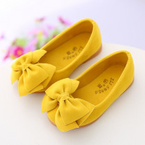 AFDSWG little girl shoes fashion bow children's dance shoes yellow low-heeled girls leather shoes wine red kids leather shoes