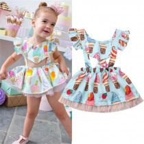 Newborn Kids Baby Girl Summer lace dress Flying sleeve Ice Cream Princess Party Dress summer Sundress