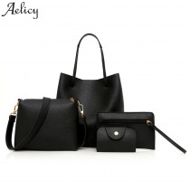Aelicy 3 sets composite bag large capacity tote bag fashion shoulder crossbody bag small purse leather bag female clutch vintage