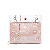 Miyahouse Suitable For Summer Women Mini Travel Bag Transparent Design Ladies Shoulder Bag Letter Printed With Chain For Ladies