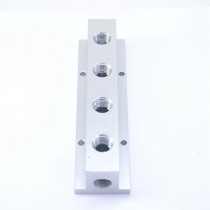"1/4"" BSP Female 4 Way Solid Aluminum T-Shape Air Manifold Block Splitter"