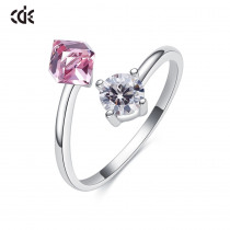 CDE 925 Silver Cube Bijouterie Ring Embellished with crystals from Swarovski Ring For Women Party Elegant Luxury Bridal Jewelry