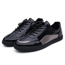 2019 Men Casual Shoes Patent Leather Men Sneakers Lace Up Men Shoes Comfort Male Shoes Adult Footwear Youth Fashion Sneakers