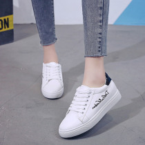 2019 Women Casual Shoes Autumn Women Sneakers Fashion Breathable PU Leather Platform Embroidered Letters White Women flat Shoes