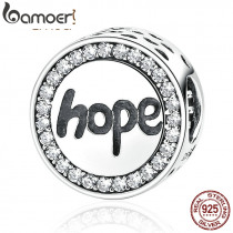"""BAMOER Real 925 Sterling Silver """"Hope"""" Letter Alphabet Charm Charms Fit Bracelets & Necklaces For Women Fashion Jewelry SCC088"""