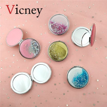 Vicney New Mini Makeup Mirror Compact Pocket Mirror Portable Double Sided Folding Makeup Mirror Female Gift Flowing Shiny Sand