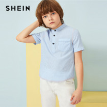 SHEIN Kiddie Boys Blue Pocket Patched Buttoned Half Placket Striped Shirt Children 2019 Summer Short Sleeve Casual Teenager Tops
