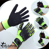 SRSafety 6 Pairs Anti Vibration Working Gloves Vibration and Shock Gloves Anti Impact Mechanics WorkGloves,Cut Level 5
