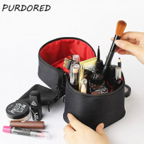PURDORED 1 pc Solid Cosmetic Bag Cylinder Organizer Toiletries Makeup Kit Pouch Package Travel Women Makeup Bag Dropshipping