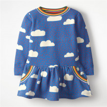 Princess Christmas Girls Dresses Tutu Party Cotton Clothing With Cloud Print New Design Children Girls Fashion Holiday Dresses
