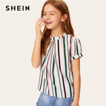 SHEIN Kiddie Girls Fold Pleated Front Striped Casual Blouse Teenager Tops 2019 Summer Roll Up Sleeve Button Back Blouse Shirts