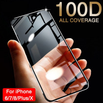 100D Curved Soft Edge Protective Glass On For iPhone 7 6 6S 8 Plus X Tempered Screen Protector For iPhone XR XS MAX 6 Glass Film