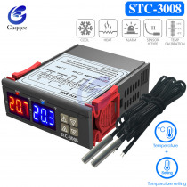 STC-3008 Dual Digital Temperature Controller Two Relay Output Thermostat with Sensor DC12V 24V AC110-220V Home Fridge Cool Heat