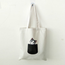 Cute Cat Dog Shopping Bags Large Capacity Canvas Tote Bag Women Female Eco-friendly Shoulder Bags