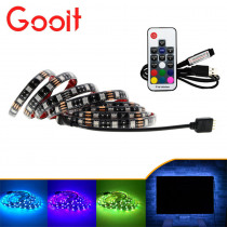 5050 USB LED Strip lights 5V TV lights RGB Black PCB IP20 / IP65  Decorative Cabinet iights lamps With 17Key RF Controller