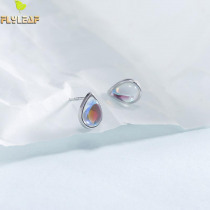 925 Sterling Silver Earrings For Women High Quality Symphony Natural Moonstone Simple Fashion Jewelry Stud Earrings Wedding