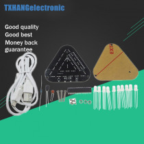 DIY Touch Control Can Combined Full Color 5MM LED Triangular Pyramid Kit electronic diy kit