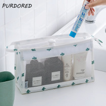 PURDORED 1 pc Cactus Cosmetic Bag Women Make Up Bag Clear Mesh Cosmetic Organizer Pouch Toiletry Bag Kit neceser Dropshipping