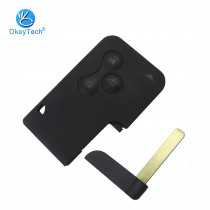 OkeyTech 3 Button Remote Key Fob Insert Small Blade Replacement Car Key Shell For Renault Clio Megane Grand Scenic Smart Card