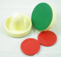 FREE SHIPPING Air hockey table IVORY 2PCS 96mm Goalies Mallets Felt Pusher 2PCS 63mm red Puck