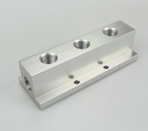 "1/4"" BSP Female 3 Way Solid Aluminum T-Shape Air Manifold Block Splitter"