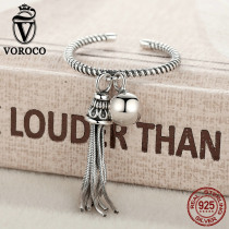 VOROCO Authentic Original 925 Sterling Silver Open Rings Tassel Silver Ball Adjustable Ring Woman Lady Fine Jewelry Gift VSR016