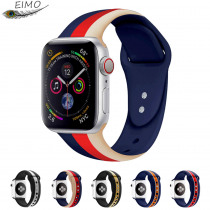 EIMO Stripe Strap for apple watch band 42mm 38mm iwath 4 band 44mm 40mm Correa Sport Silicone bracelet Colok apple watch 4 3 2 1