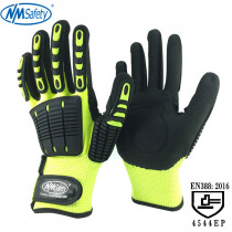 NMSafety 2 Pairs Anti Vibration and Shock Safety Glove High-visibility Anti Impact Resistant Mechanics Work Gloves