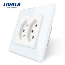 Livolo EU Standard two gang Switzerland Power Socket, White Crystal Glass Panel, AC 110~250V  Wall Power Socket, VL-C7C2CH-11