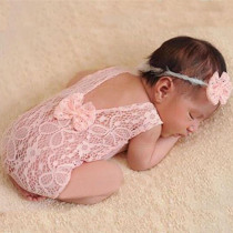 Baby Photography Props Backless Hollow Bowknot Lace Costume Newborn Baby Romper Headband Infant Outfit For Baby Girls Photoshoot