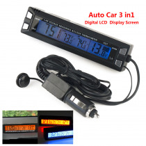 Digital LCD Clock Car Thermometer Battery Voltage Monitor 3 in 1 12V/24V Auto Thermometer Voltmeter Temperature Gauge