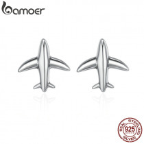 BAMOER 100% 925 Sterling Silver Exquisite Mini Airplane Aircraft Stud Earrings for Women Fashion Sterling Silver Jewelry SCE238