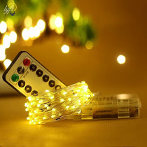 10/20m copper Wire Battery LED String Light with Remote Controller For Wedding Christma Party Holiday Halloween Decoration light