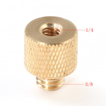 Foleto New 3/8 inch Female to 1/4 inch Male Tripod Thread Reducer Adapter Brass Copper For Camera tripod Diameter of screw 6mm