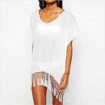 New Arrive Summer Women White Beach Cover Up Ladies Sexy Swimsuit Tassel Bathing Suit Cover Ups Beach Wear