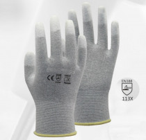 13 Gauge Carbon Nylon Lining ESD Safe Glove 120 Pairs Anti static PU Finger Top Coated Work Gloves