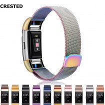 CRESTED Milanese Loop watch Strap For fitbit charge 2 band replacement Wrist Watchband bracelet Stainless Steel belt accessories
