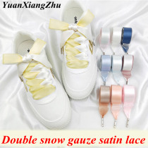 1 Pair New Double-faced Snow Yarn Satin Silk Ribbon Shoelaces Lace 2CM Width Off White Shoe Lace Fashion Sneakers Shoe Laces