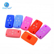 OkeyTech Silicone Rubber Car Key Case Cover Skin Protector Holder 4 Button for Peugeot 1007 807 for Citroen C8 Car Accessories