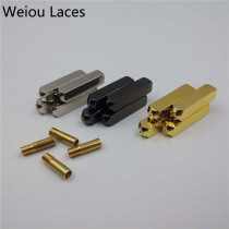 Weiou (20pcs/5 Sets) New Luxury Screw On Aglets Mirror Gold Silver Gun Black Shoelace Tips Support Custom Logo DIY Accessories