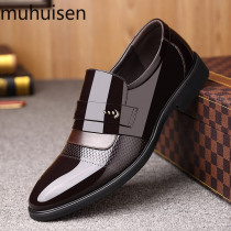 2019 New Fashion Men's Shoes Pointed Leather Patent Leather Business Dress Casual Men's Shoes Wedding Shoes