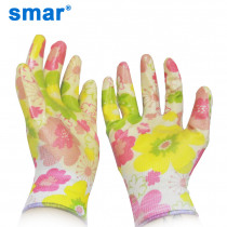 Smar Lady Use 6 Pairs Breathable Gardening Gloves Non-Slip Housework Cleaning Women Yellow Flower Printed Nitrile Labor Gloves