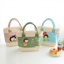 lunch bag fashion Cartoon Canvas thickening Portable Insulated Thermal Food Picnic Bag for Women kids Men Cooler bag