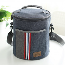 new fashion Cylindrical thermal lunch bag cooler thermo insulated food bag picnic bag kids men and women casual canvas lunch box