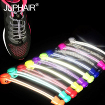 1 Pair Night Glow No Tie Locking Shoelaces Trainer Sport Fitness Athletic Sneak Shoe Laces Multicolor Laces Black Buckle Elastic
