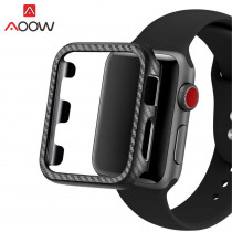 Carbon Fiber Protective Case for Apple Watch 38mm 40mm 42mm 44mm PC Frame Full Protection Cover Bumper Band for iwatch 1 2 3 4