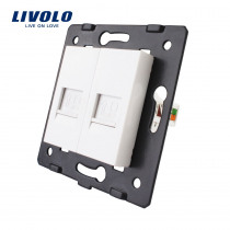 Manufacture Livolo,The Base Of  Socket /Outlet /Plug For DIY Product, 2 Gangs Computer Socket ,Lan socket, VL-C7-2C-11