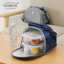 Aosbos Oxford Portable Cooler Lunch Bag Solid Thermal Insulated Shoulder Food Bags Food Picnic Lunch Box Bag for Men Women Kids